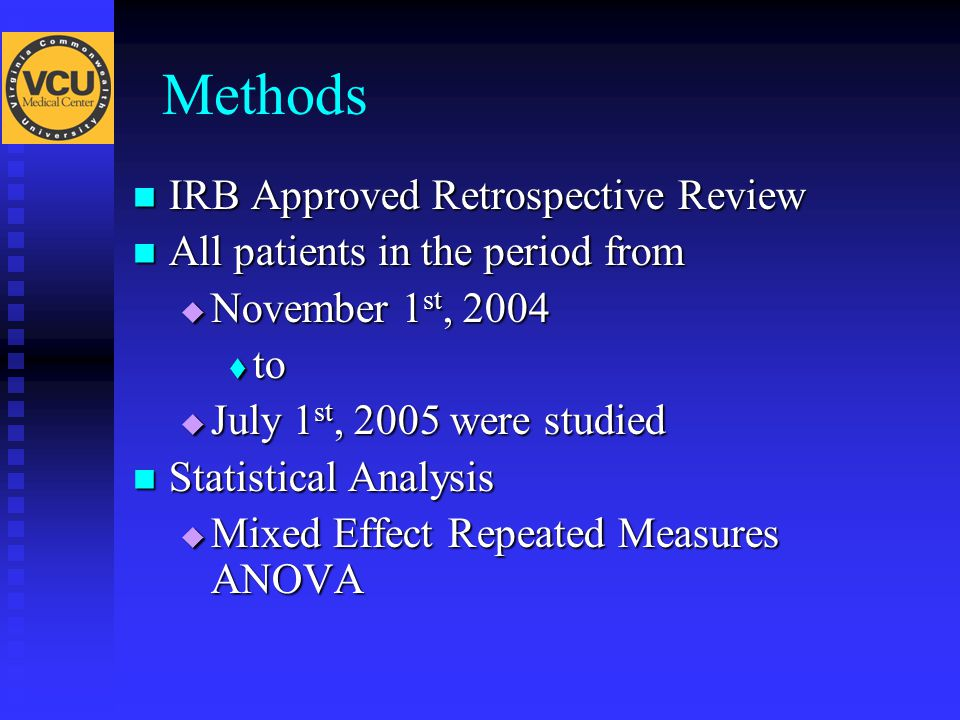 Methods IRB Approved Retrospective Review IRB Approved Retrospective Review All patients in the period from All patients in the period from  November 1 st, 2004  to  July 1 st, 2005 were studied Statistical Analysis Statistical Analysis  Mixed Effect Repeated Measures ANOVA