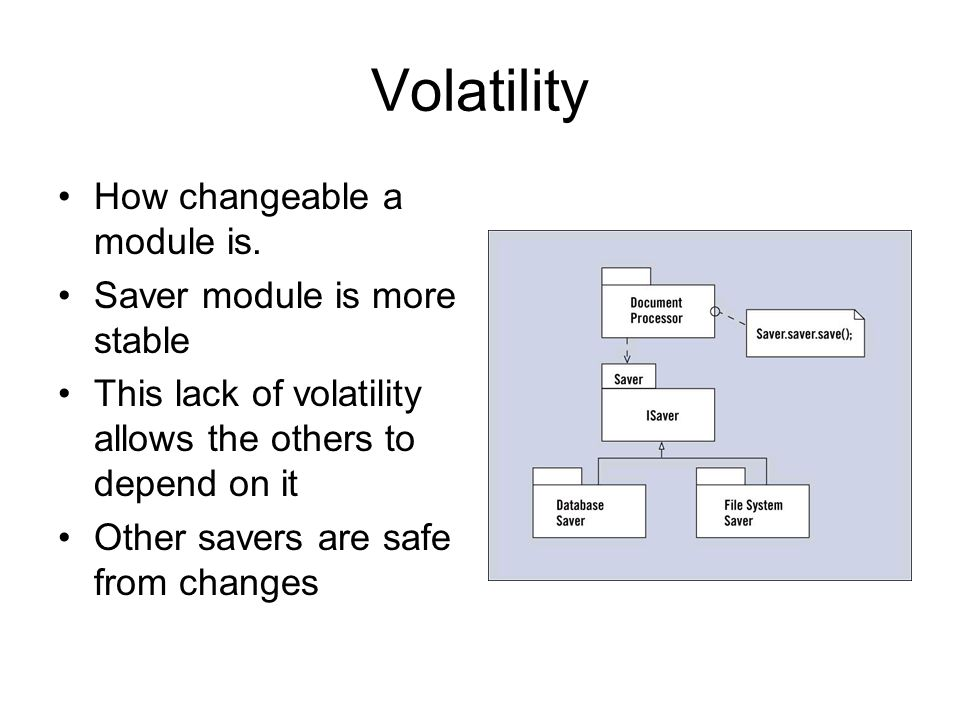 Volatility How changeable a module is.
