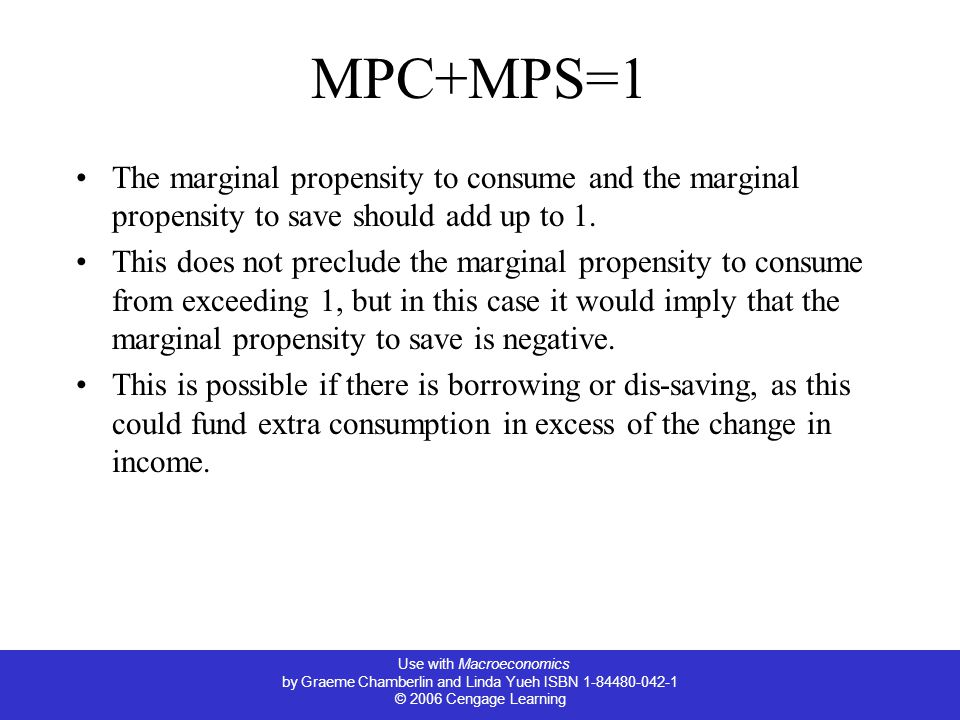 Use with Macroeconomics by Graeme Chamberlin and Linda Yueh ISBN 1-84480-042-1 © 2006 Cengage Learning MPC+MPS=1 The marginal propensity to consume and the marginal propensity to save should add up to 1.