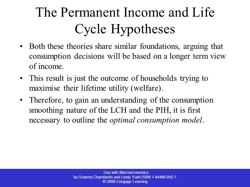 Use with Macroeconomics by Graeme Chamberlin and Linda Yueh ISBN 1-84480-042-1 © 2006 Cengage Learning The Permanent Income and Life Cycle Hypotheses Both these theories share similar foundations, arguing that consumption decisions will be based on a longer term view of income.
