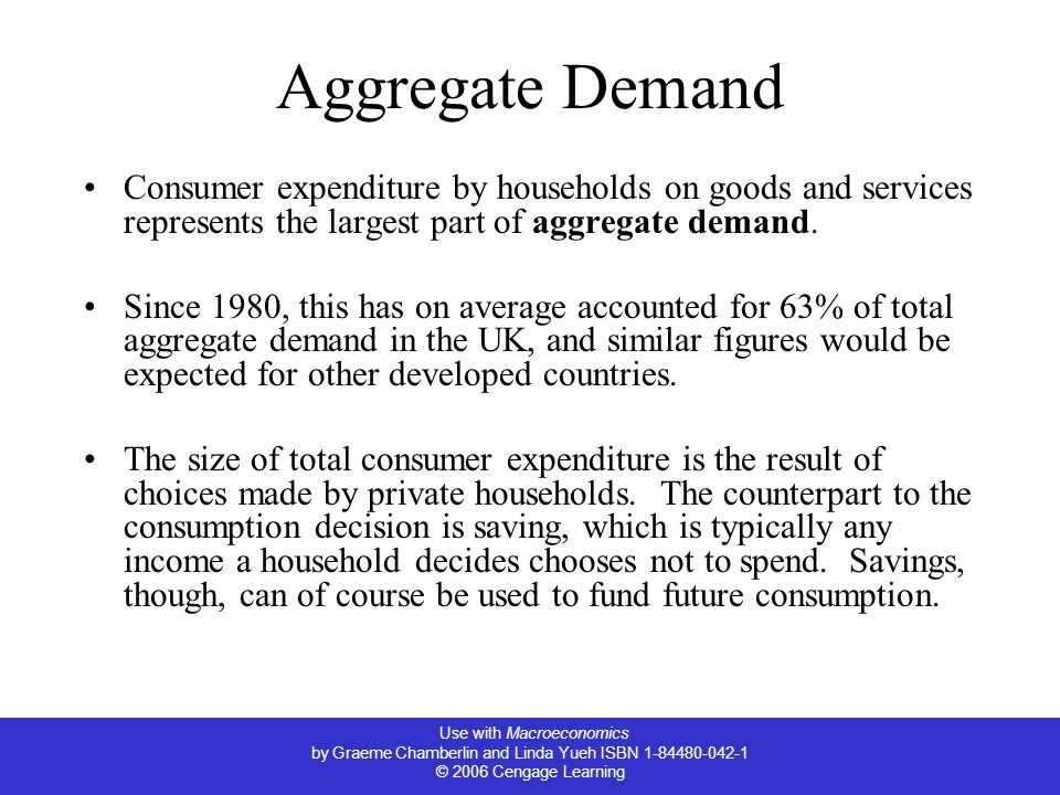 Use with Macroeconomics by Graeme Chamberlin and Linda Yueh ISBN 1-84480-042-1 © 2006 Cengage Learning Aggregate Demand Consumer expenditure by households on goods and services represents the largest part of aggregate demand.