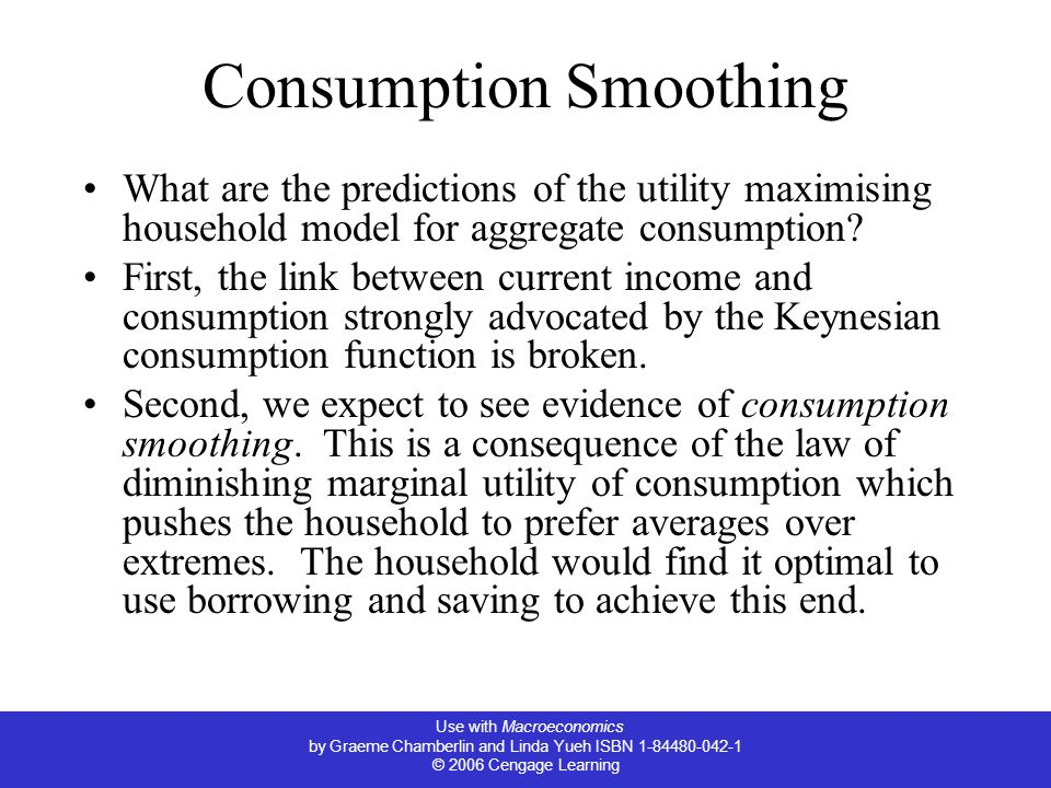 Use with Macroeconomics by Graeme Chamberlin and Linda Yueh ISBN 1-84480-042-1 © 2006 Cengage Learning Consumption Smoothing What are the predictions of the utility maximising household model for aggregate consumption.