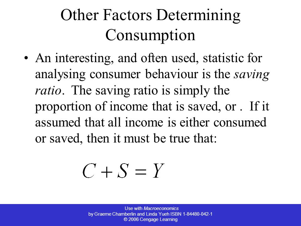 Use with Macroeconomics by Graeme Chamberlin and Linda Yueh ISBN 1-84480-042-1 © 2006 Cengage Learning Other Factors Determining Consumption An interesting, and often used, statistic for analysing consumer behaviour is the saving ratio.