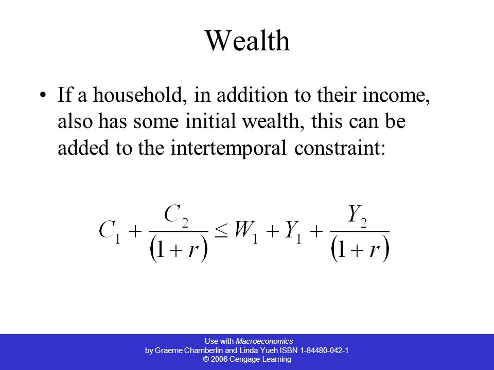 Use with Macroeconomics by Graeme Chamberlin and Linda Yueh ISBN 1-84480-042-1 © 2006 Cengage Learning Wealth If a household, in addition to their income, also has some initial wealth, this can be added to the intertemporal constraint: