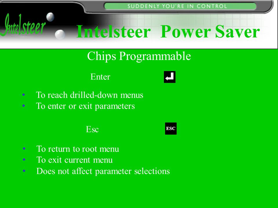 Enter To reach drilled-down menus To enter or exit parameters Esc To return to root menu To exit current menu Does not affect parameter selections ESC Chips Programmable Intelsteer Power Saver