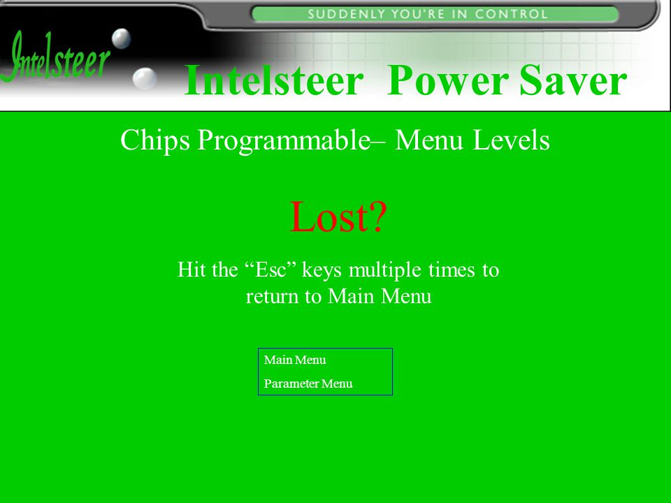 Chips Programmable– Menu Levels Lost.