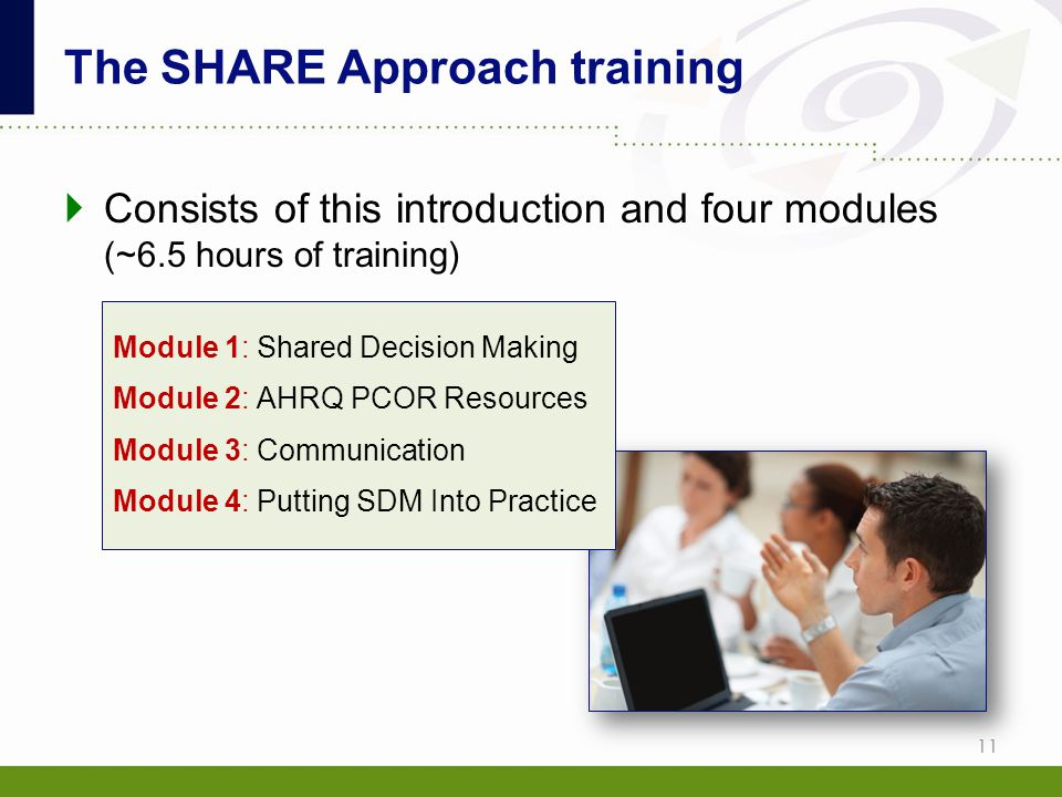  Consists of this introduction and four modules (~6.5 hours of training) The SHARE Approach training 11 Module 1: Shared Decision Making Module 2: AH