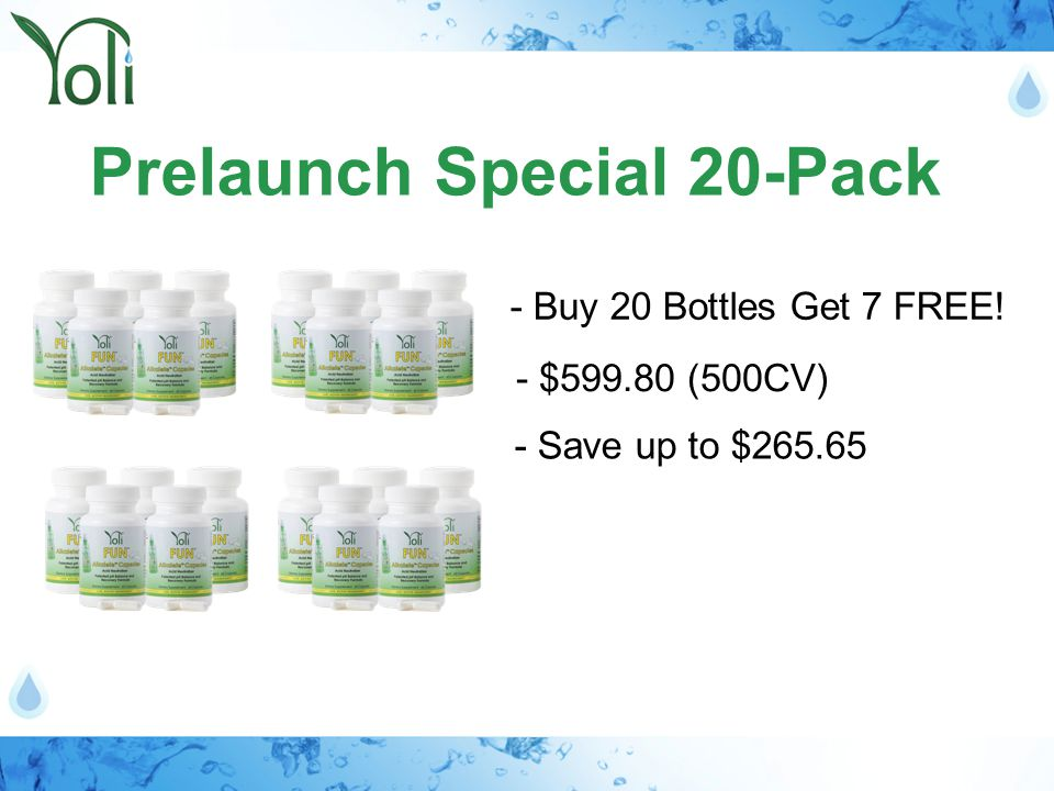 Prelaunch Special 20-Pack - Buy 20 Bottles Get 7 FREE! - $599.80 (500CV) - Save up to $265.65