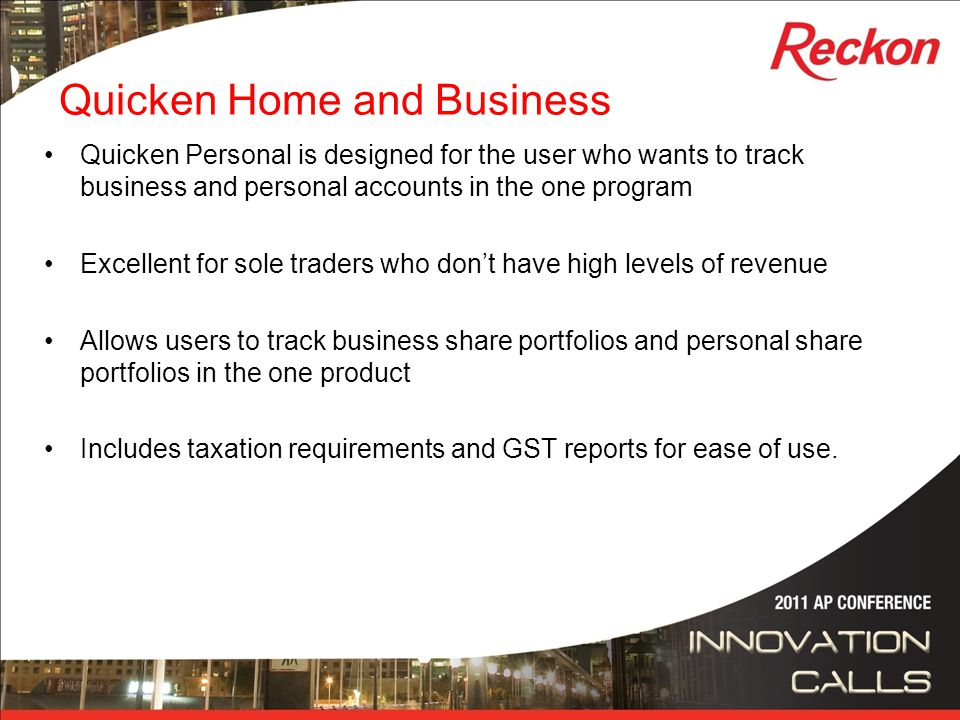 Quicken 2011 Development Cycle We started Quicken earlier than any other year in history for the 2011 project (May 2010) This enabled us to fix many of the bug bears that our users had been experiencing with the software as well as kick off some major integration projects We delivered a number of new features including Hubb Investor We included NZ specific features for the 2011 release for the first time in quite some time.