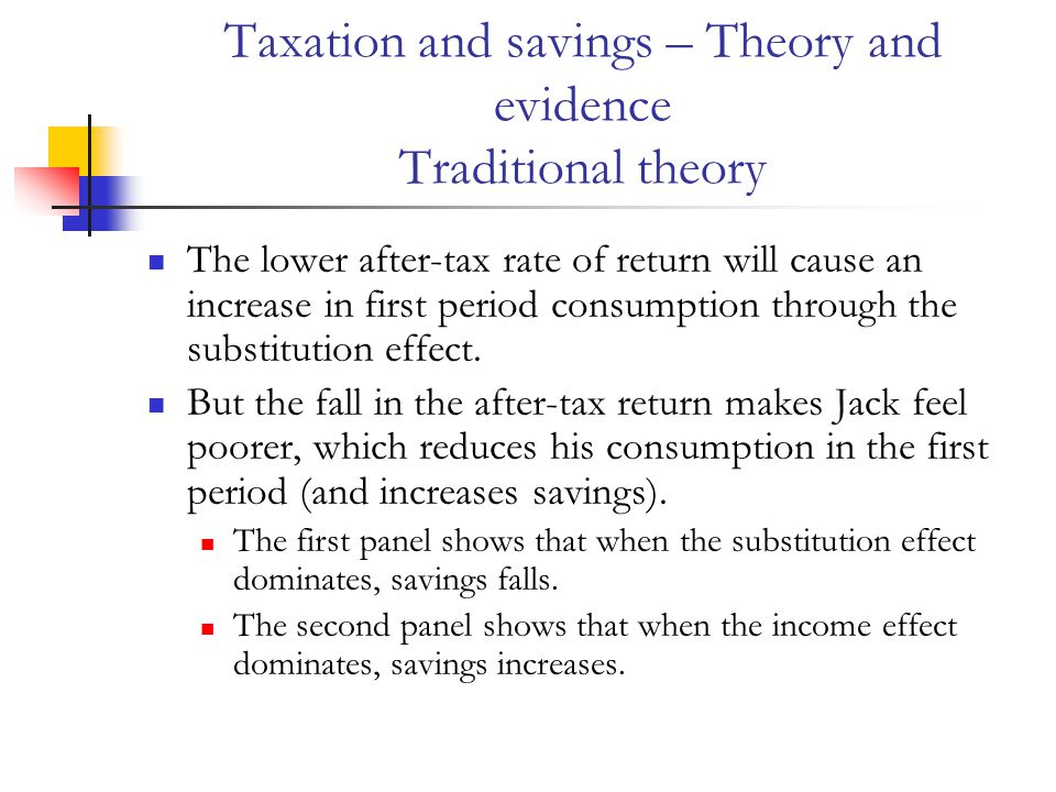 Taxation and savings – Theory and evidence Traditional theory The lower after-tax rate of return will cause an increase in first period consumption through the substitution effect.