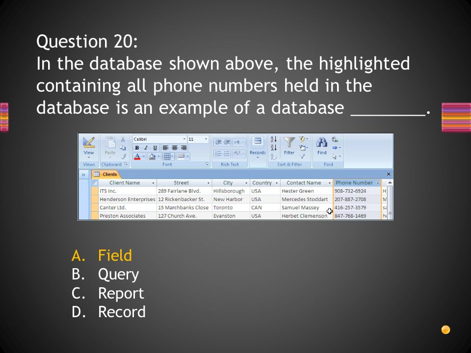 Question 20: In the database shown above, the highlighted containing all phone numbers held in the database is an example of a database ________.