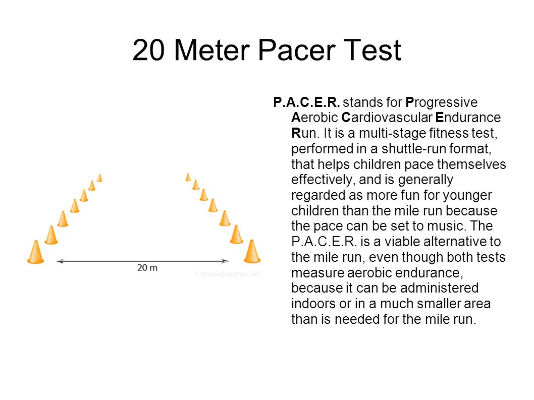 20 Meter Pacer Test P.A.C.E.R. stands for Progressive Aerobic Cardiovascular Endurance Run.