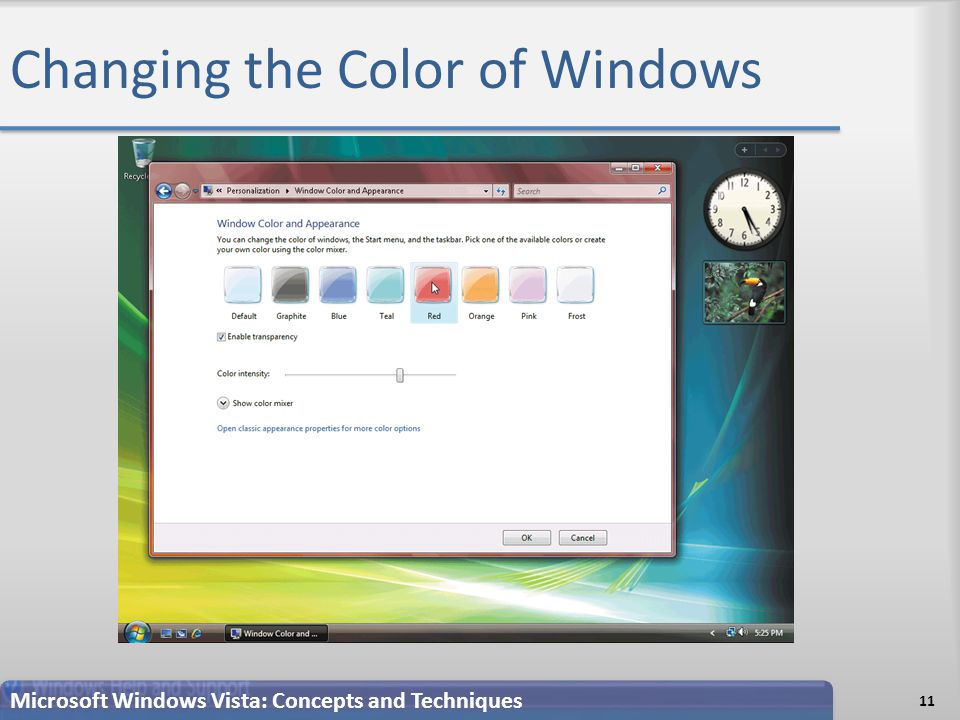Changing the Color of Windows 11 Microsoft Windows Vista: Concepts and Techniques