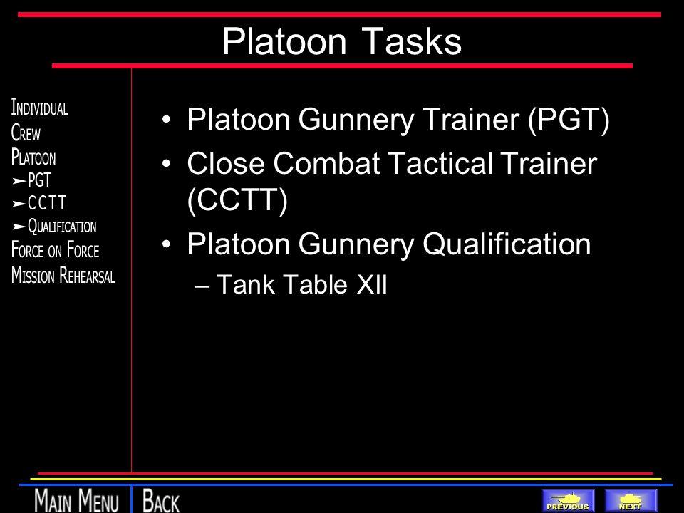 Platoon Tasks Platoon Gunnery Trainer (PGT) Close Combat Tactical Trainer (CCTT) Platoon Gunnery Qualification –Tank Table XII