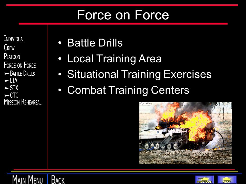 Force on Force Battle Drills Local Training Area Situational Training Exercises Combat Training Centers