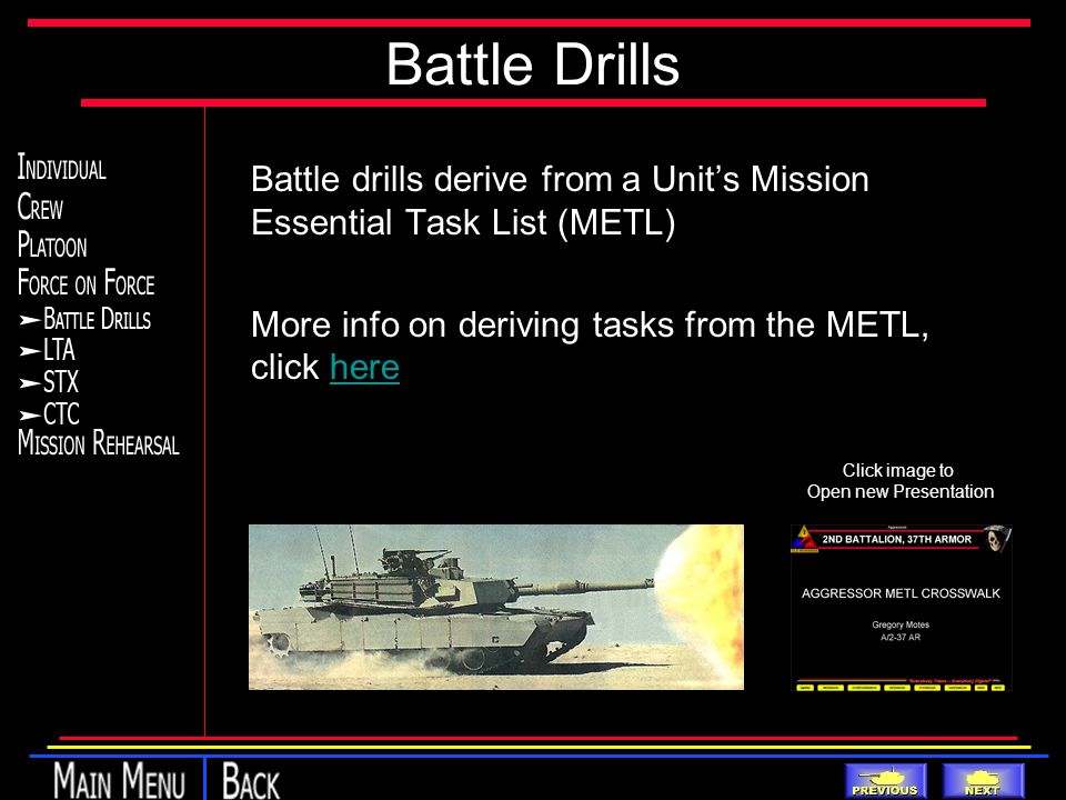 Battle Drills Battle drills derive from a Unit's Mission Essential Task List (METL) More info on deriving tasks from the METL, click herehere Click image to Open new Presentation