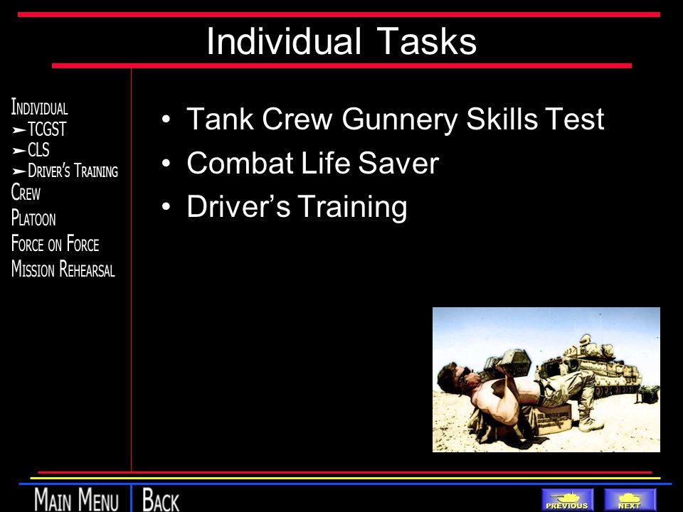 Individual Tasks Tank Crew Gunnery Skills Test Combat Life Saver Driver's Training