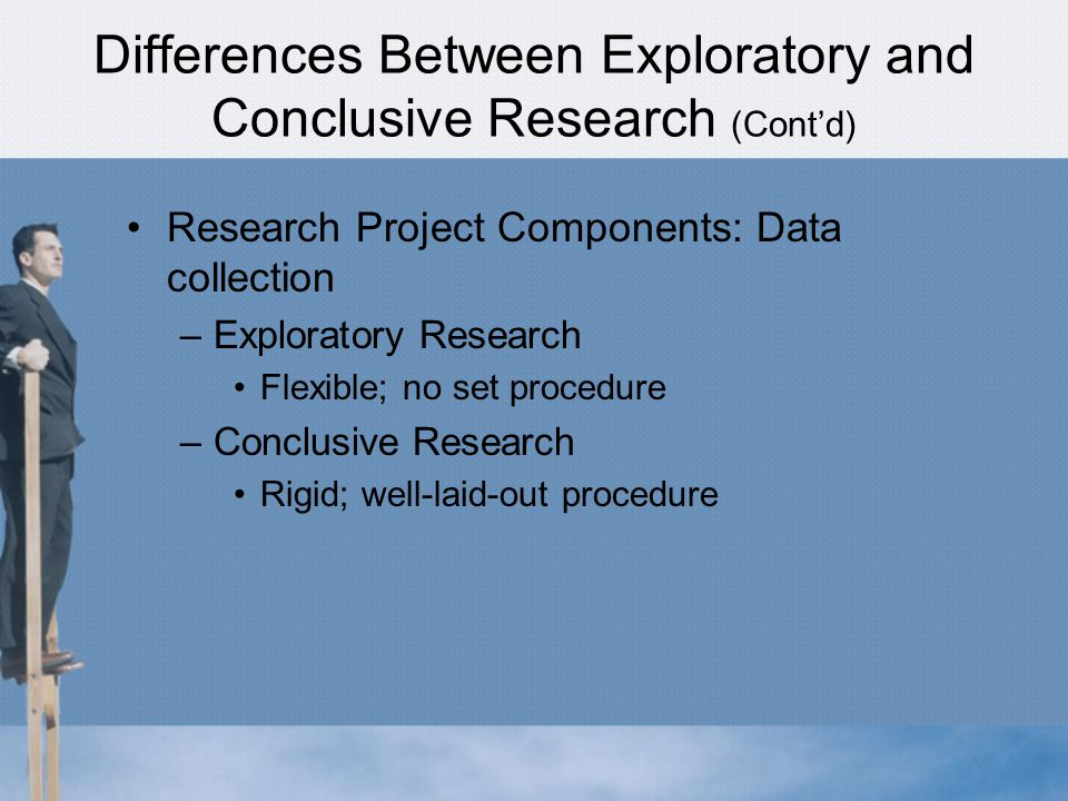 Differences Between Exploratory and Conclusive Research (Cont'd) Research Project Components: Data collection –Exploratory Research Flexible; no set procedure –Conclusive Research Rigid; well-laid-out procedure