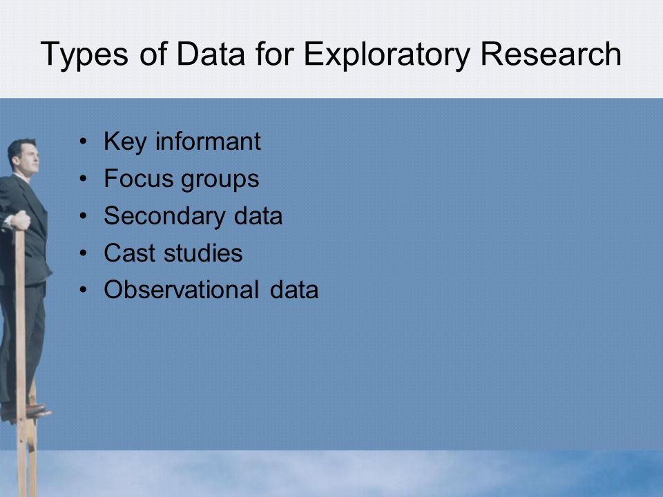 Types of Data for Exploratory Research Key informant Focus groups Secondary data Cast studies Observational data