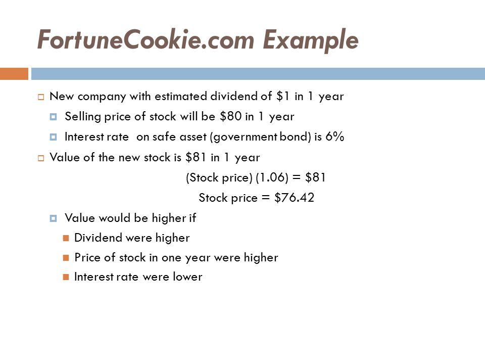 FortuneCookie.com Example  New company with estimated dividend of $1 in 1 year  Selling price of stock will be $80 in 1 year  Interest rate on safe asset (government bond) is 6%  Value of the new stock is $81 in 1 year (Stock price) (1.06) = $81 Stock price = $76.42  Value would be higher if Dividend were higher Price of stock in one year were higher Interest rate were lower