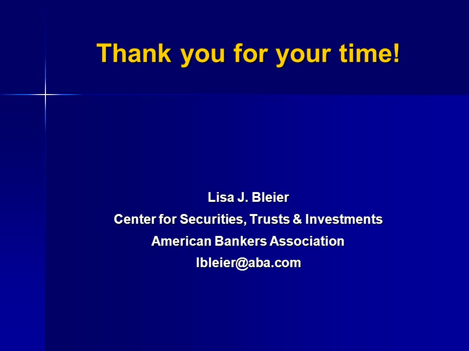 Thank you for your time. Lisa J.