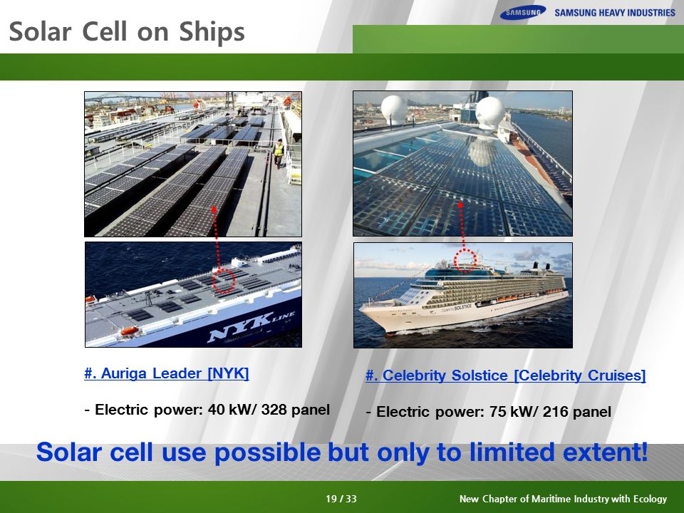 Solar Cell on Ships #. Celebrity Solstice [Celebrity Cruises] - Electric power: 75 kW/ 216 panel #.