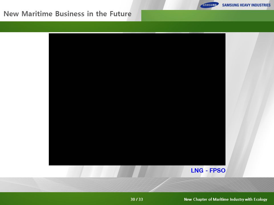 New Maritime Business in the Future 30 / 33New Chapter of Maritime Industry with Ecology LNG - FPSO