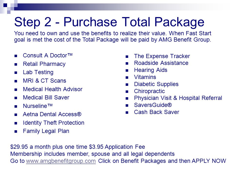 Step 2 - Purchase Total Package Consult A Doctor™ Retail Pharmacy Lab Testing MRI & CT Scans Medical Health Advisor Medical Bill Saver Nurseline™ Aetn
