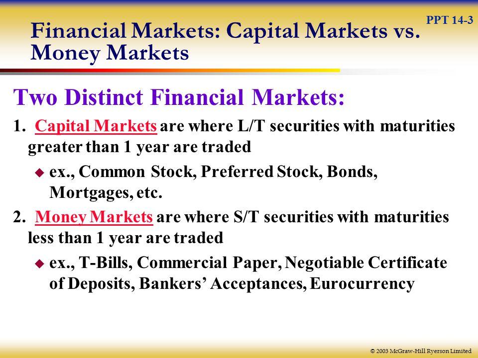 © 2003 McGraw-Hill Ryerson Limited Financial Markets: Capital Markets vs.
