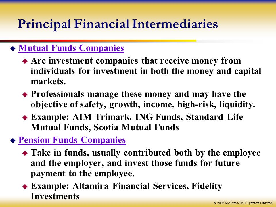 © 2003 McGraw-Hill Ryerson Limited Principal Financial Intermediaries  Mutual Funds Companies  Are investment companies that receive money from individuals for investment in both the money and capital markets.