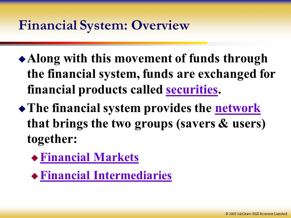 © 2003 McGraw-Hill Ryerson Limited Financial System: Overview  Along with this movement of funds through the financial system, funds are exchanged for financial products called securities.