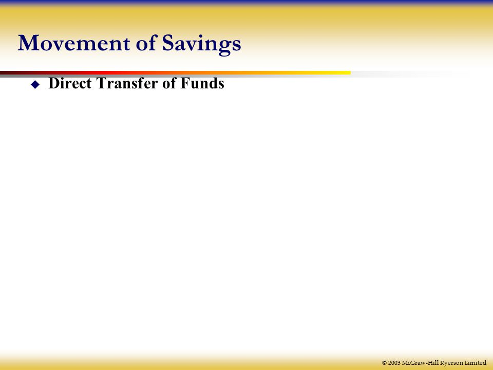 © 2003 McGraw-Hill Ryerson Limited  Direct Transfer of Funds Movement of Savings