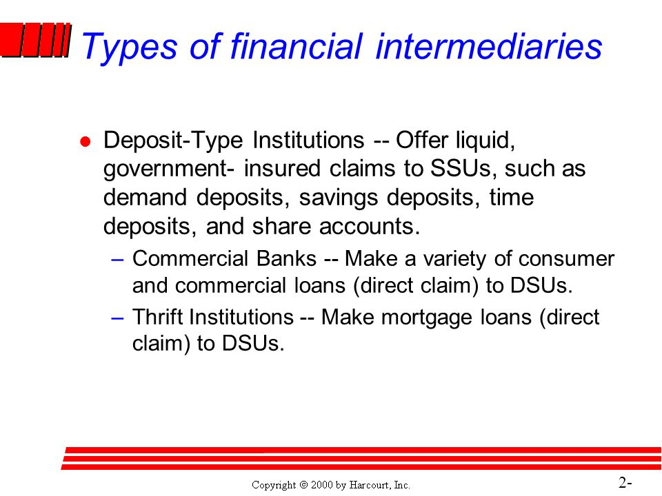 2- 15 Types of financial intermediaries l Deposit-Type Institutions -- Offer liquid, government- insured claims to SSUs, such as demand deposits, savings deposits, time deposits, and share accounts.