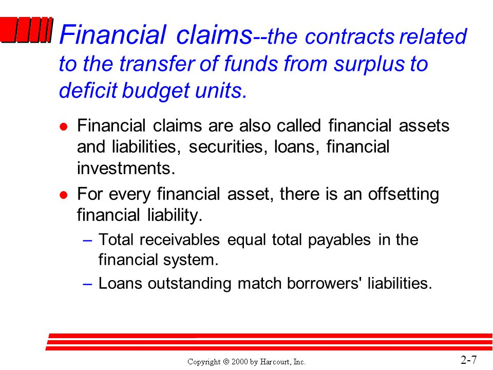 2-7 Financial claims --the contracts related to the transfer of funds from surplus to deficit budget units.