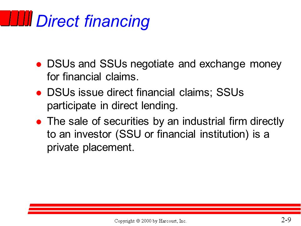 2- 10 Direct financing (concluded) l Brokers bring DSUs and SSUs together; dealers buy the securities from DSUs and resell to the SSUs.