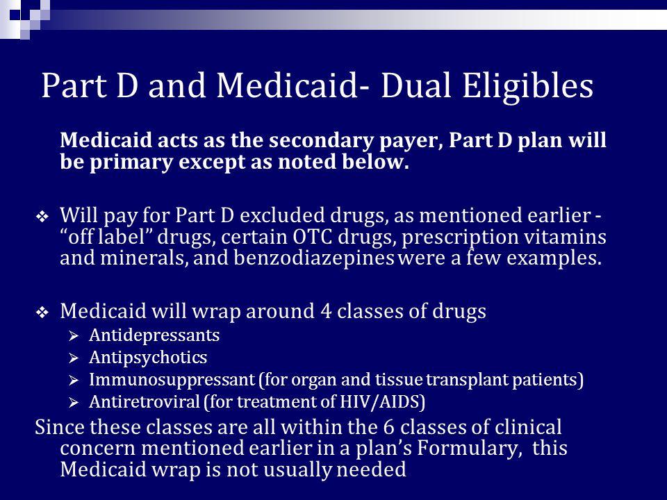 V. Part D with Other Types of Drug Coverage  Medicaid (dual eligible)  EPIC  New York Prescription Saver Card  Medigap  Patient Assistance Progra