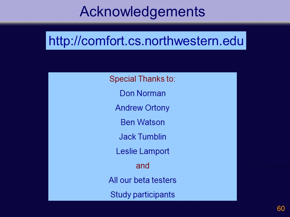 60 Acknowledgements http://comfort.cs.northwestern.edu Special Thanks to: Don Norman Andrew Ortony Ben Watson Jack Tumblin Leslie Lamport and All our beta testers Study participants