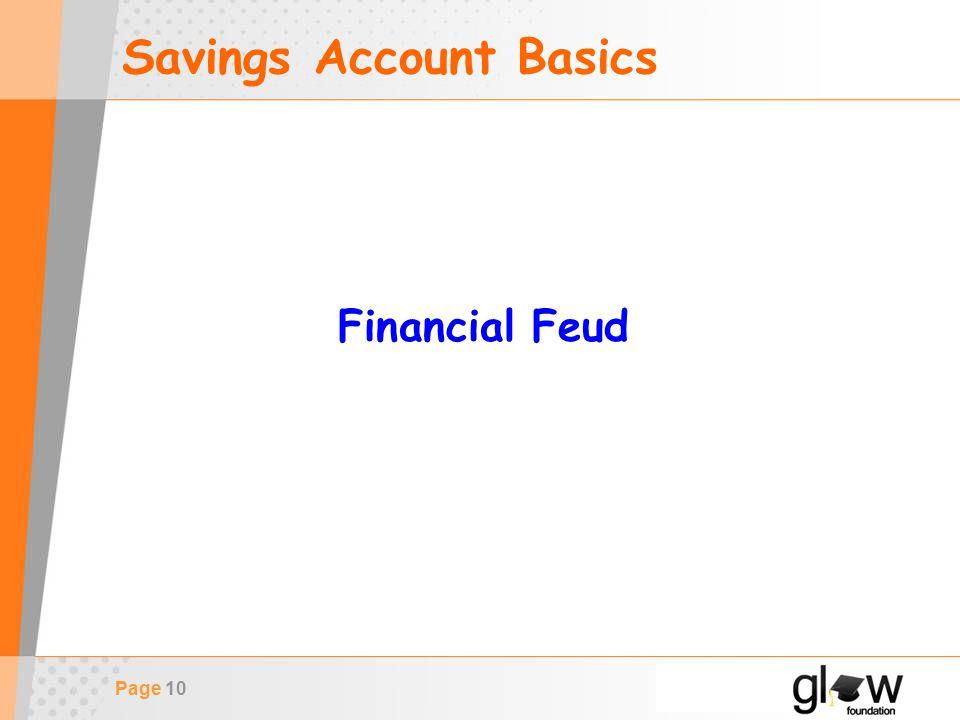 Page 10 Savings Account Basics Financial Feud