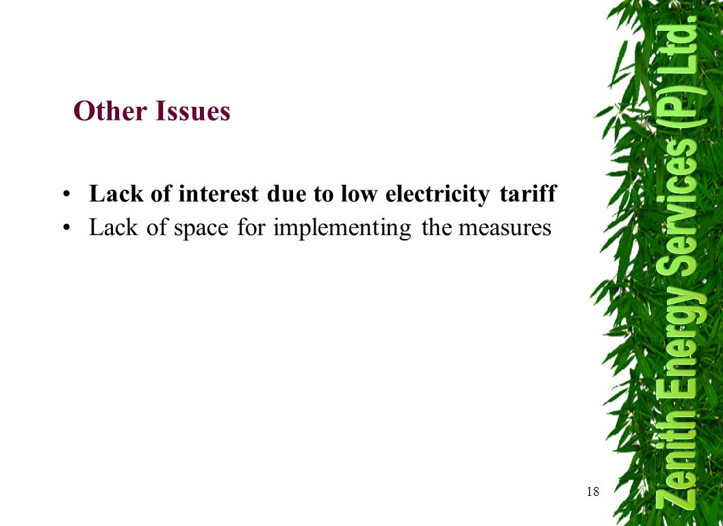 18 Other Issues Lack of interest due to low electricity tariff Lack of space for implementing the measures