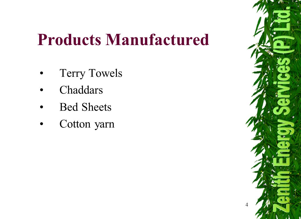 4 Products Manufactured Terry Towels Chaddars Bed Sheets Cotton yarn