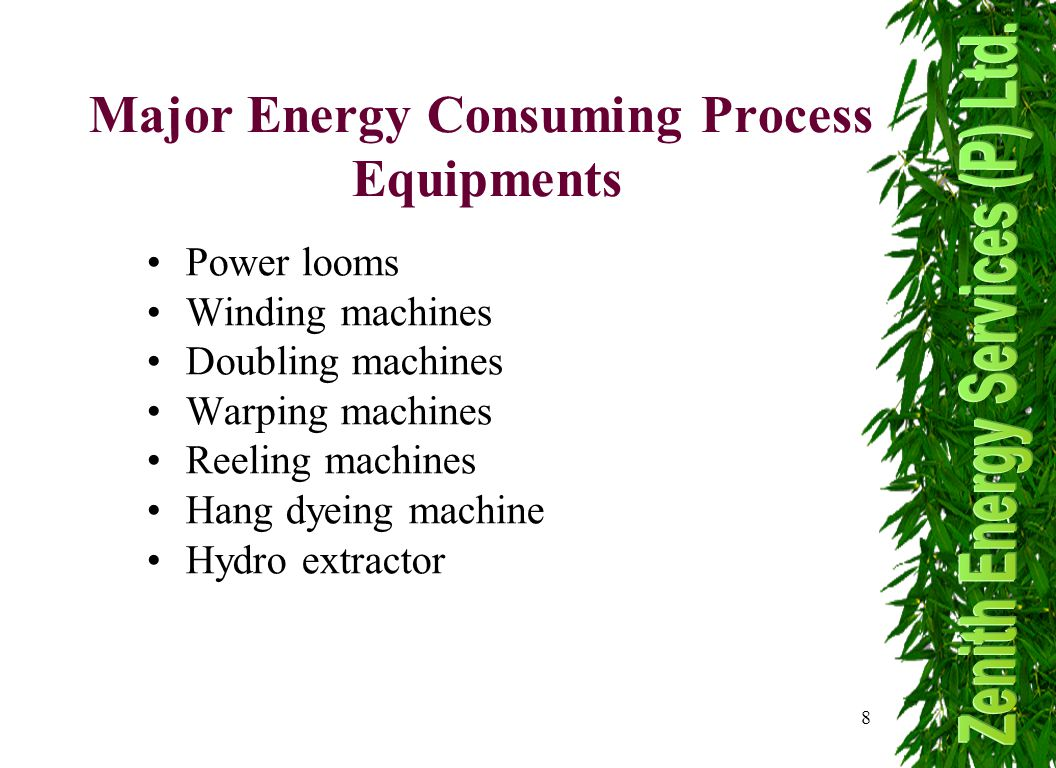 8 Major Energy Consuming Process Equipments Power looms Winding machines Doubling machines Warping machines Reeling machines Hang dyeing machine Hydro extractor