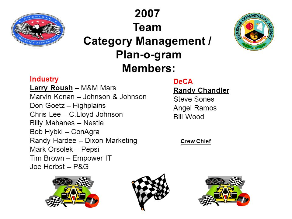 Crew Chief Industry Larry Roush – M&M Mars Marvin Kenan – Johnson & Johnson Don Goetz – Highplains Chris Lee – C.Lloyd Johnson Billy Mahanes – Nestle Bob Hybki – ConAgra Randy Hardee – Dixon Marketing Mark Orsolek – Pepsi Tim Brown – Empower IT Joe Herbst – P&G 2007 Team Category Management / Plan-o-gram Members: DeCA Randy Chandler Steve Sones Angel Ramos Bill Wood