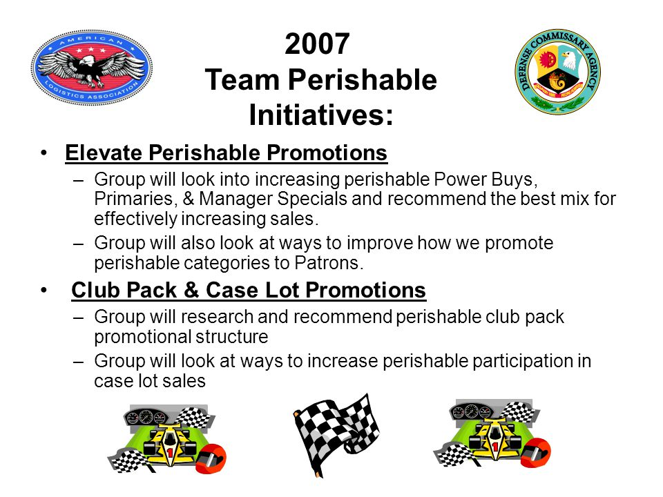 2007 Team Perishable Initiatives: Elevate Perishable Promotions –Group will look into increasing perishable Power Buys, Primaries, & Manager Specials and recommend the best mix for effectively increasing sales.
