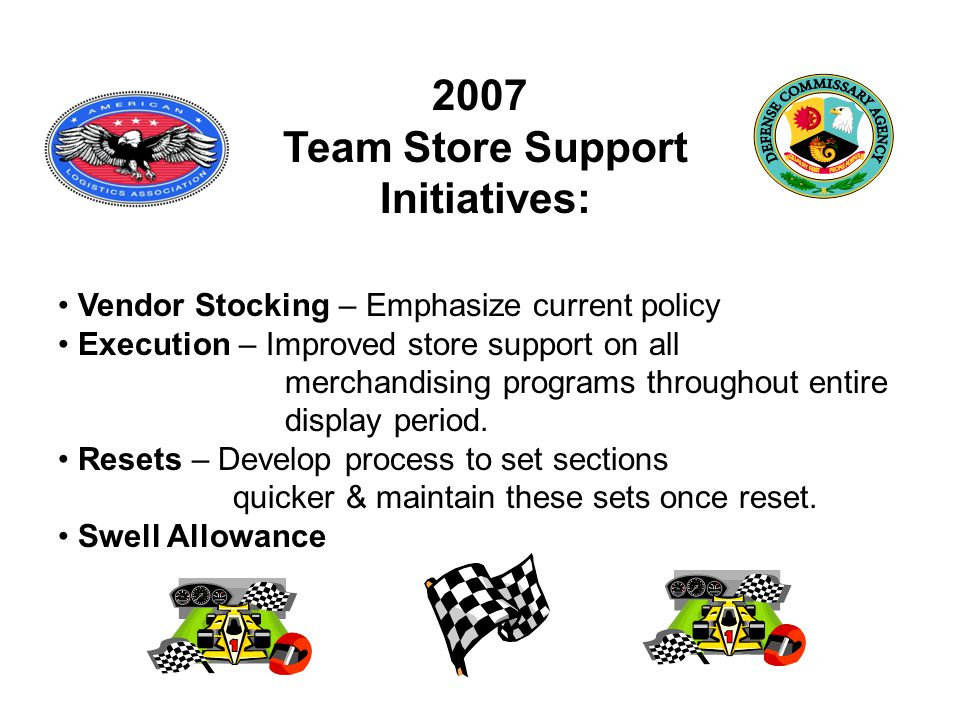 2007 Team Store Support Initiatives: Vendor Stocking – Emphasize current policy Execution – Improved store support on all merchandising programs throughout entire display period.