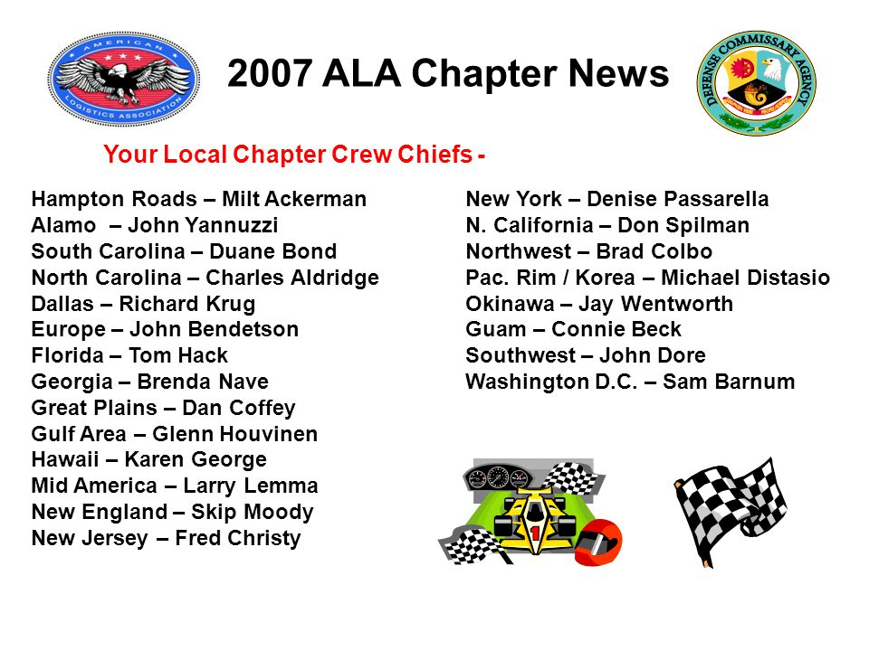 2007 ALA Chapter News Your Local Chapter Crew Chiefs - Hampton Roads – Milt Ackerman New York – Denise Passarella Alamo – John Yannuzzi N.