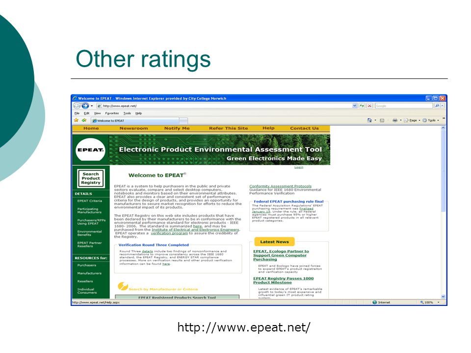 Other ratings http://www.epeat.net/