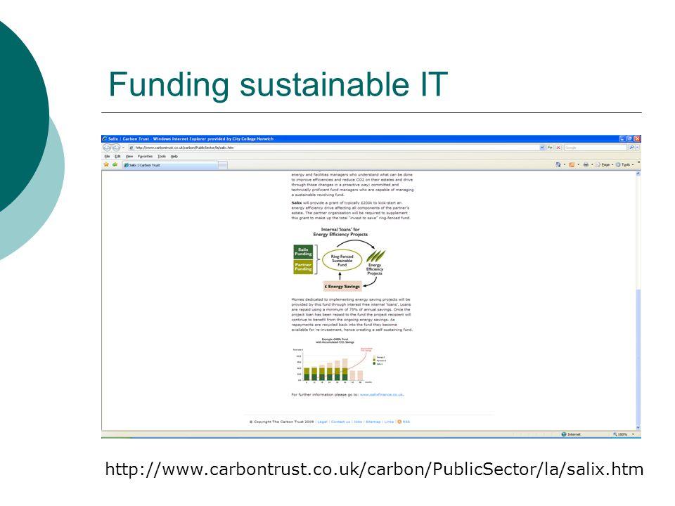 Funding sustainable IT http://www.carbontrust.co.uk/carbon/PublicSector/la/salix.htm