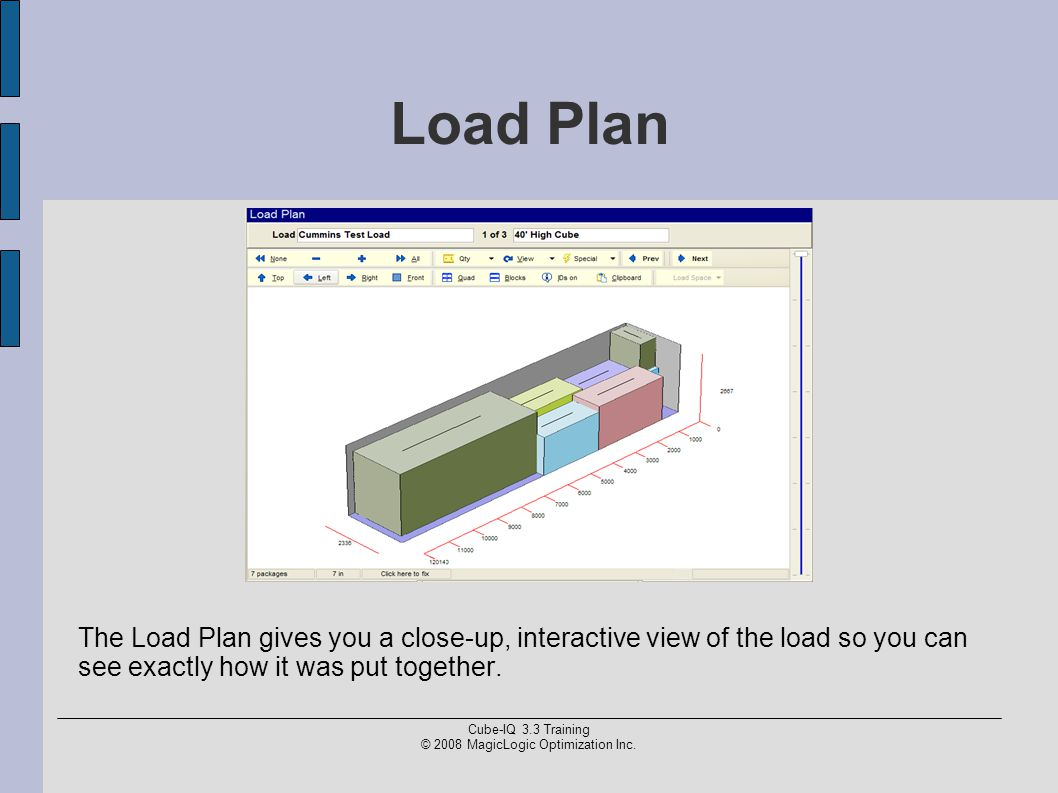 Cube-IQ 3.3 Training © 2008 MagicLogic Optimization Inc. Load Plan The Load Plan gives you a close-up, interactive view of the load so you can see exa