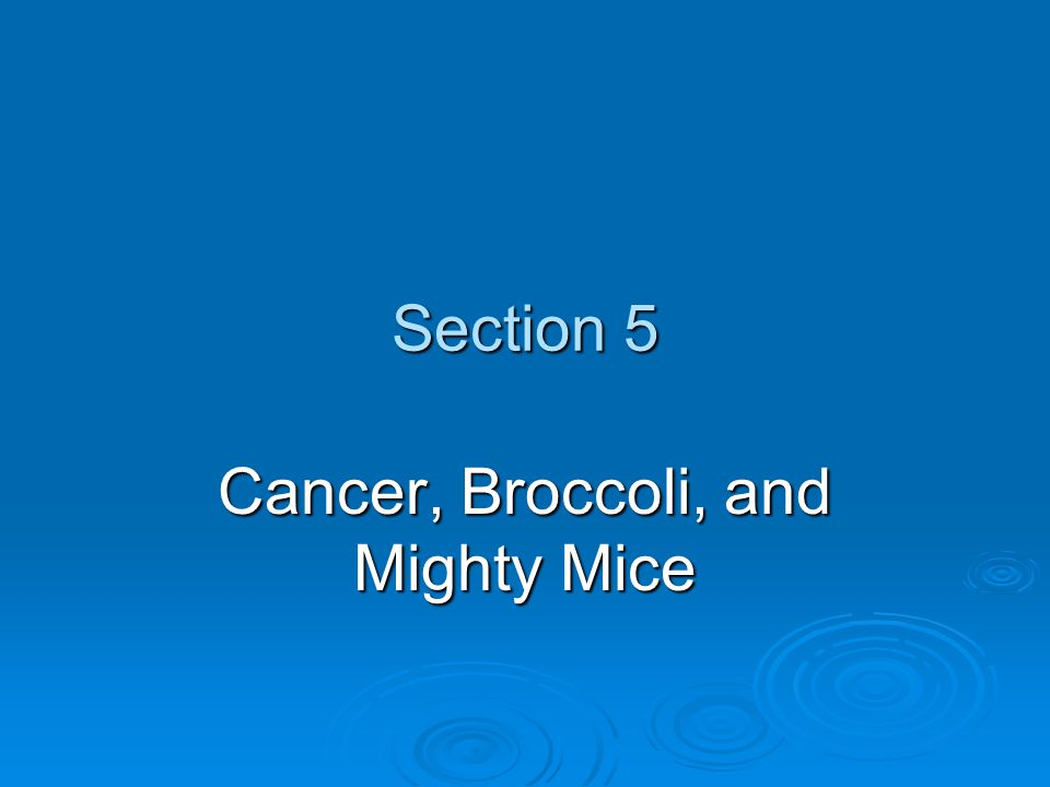 Section 5 Cancer, Broccoli, and Mighty Mice
