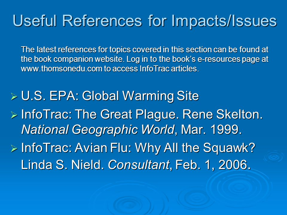 Useful References for Impacts/Issues The latest references for topics covered in this section can be found at the book companion website.